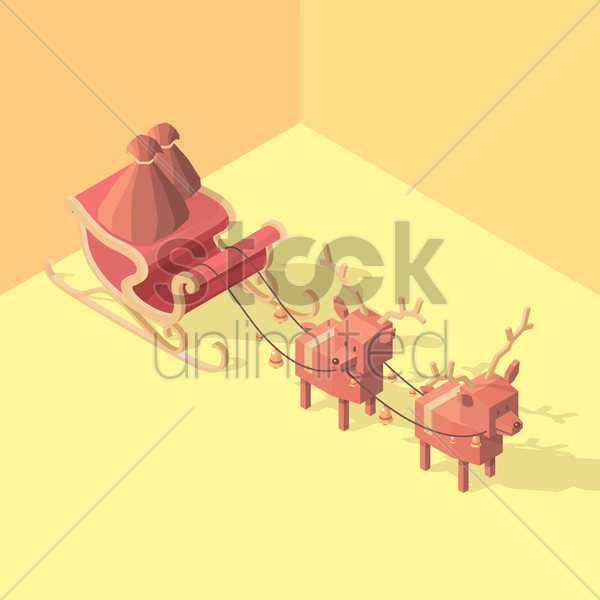 isometric sleigh with reindeers vector graphic