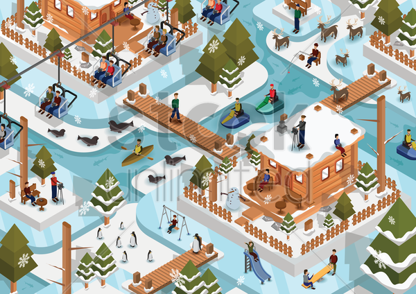 isometric snow landscape vector graphic
