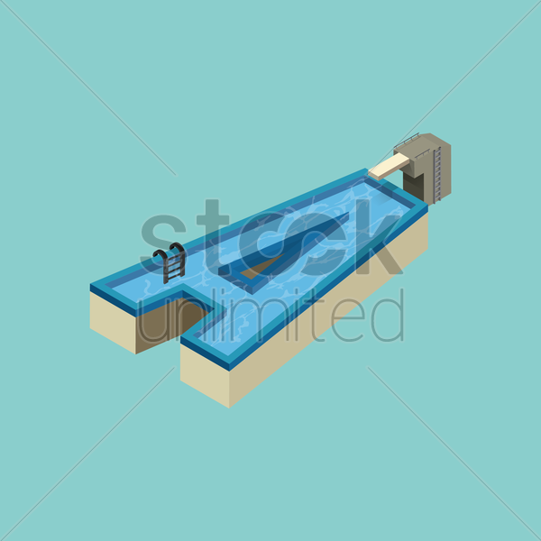 Free isometric swimming pool design of alphabet a vector graphic