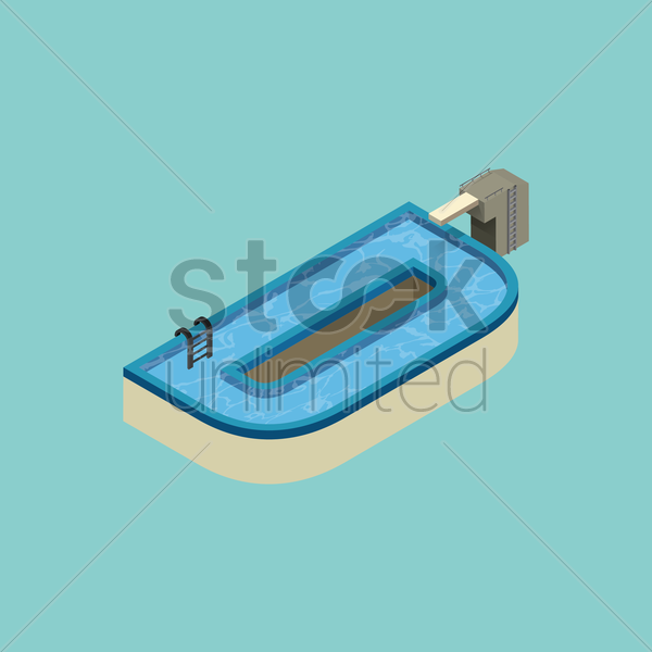 Free isometric swimming pool design of alphabet d vector graphic