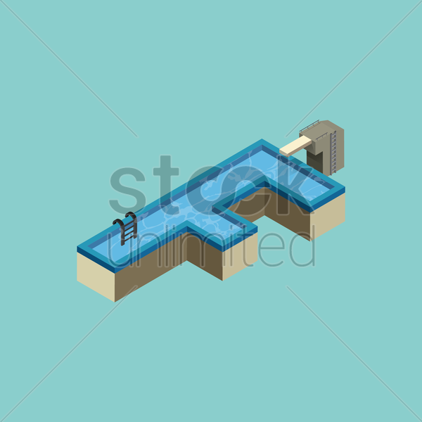 Free isometric swimming pool design of alphabet f vector graphic