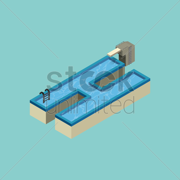 Free isometric swimming pool design of alphabet h vector graphic