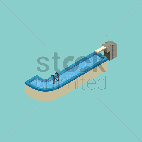 Free isometric swimming pool design of alphabet j vector graphic