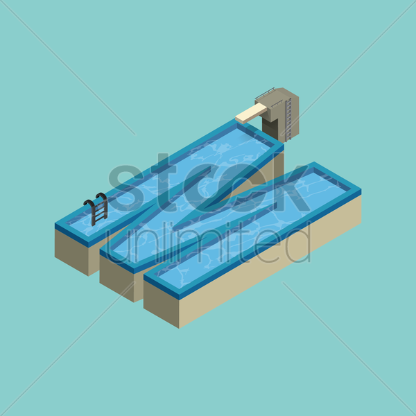Free isometric swimming pool design of alphabet m vector graphic