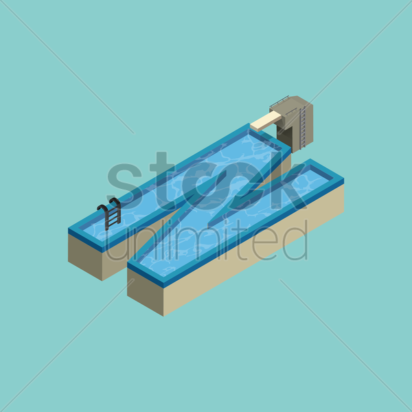 Free isometric swimming pool design of alphabet n vector graphic