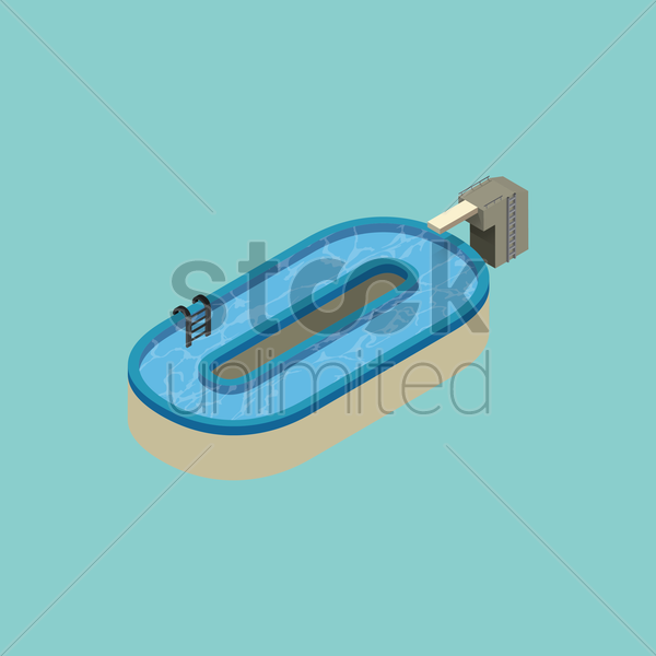 Free isometric swimming pool design of alphabet o vector graphic
