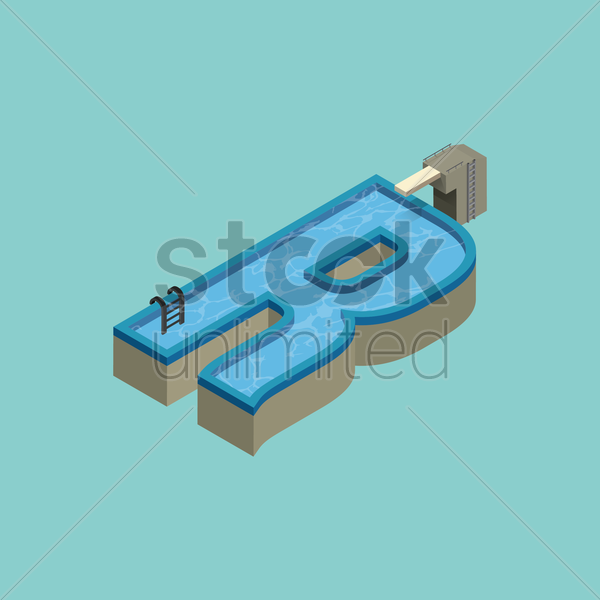 Free isometric swimming pool design of alphabet r vector for Pool design graphic