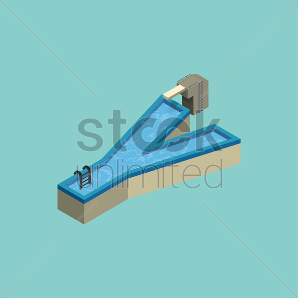 Free isometric swimming pool design of alphabet y vector graphic