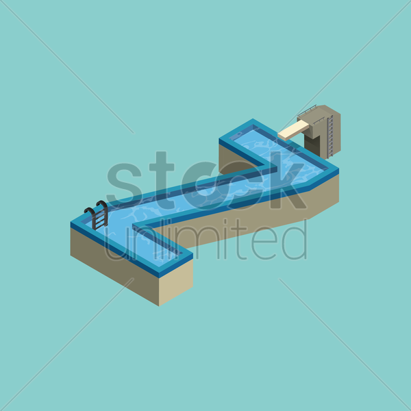 Free isometric swimming pool design of alphabet z vector graphic