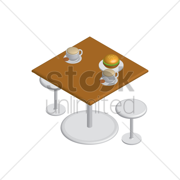 isometric table and chairs vector graphic