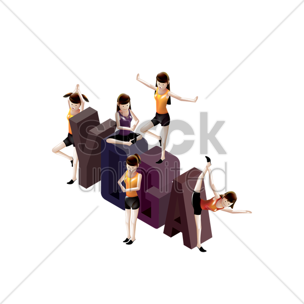 isometric yoga vector graphic