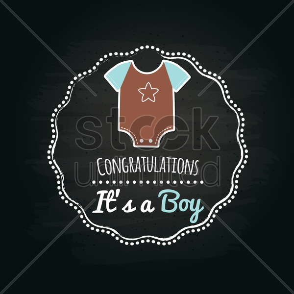 it's a boy label vector graphic