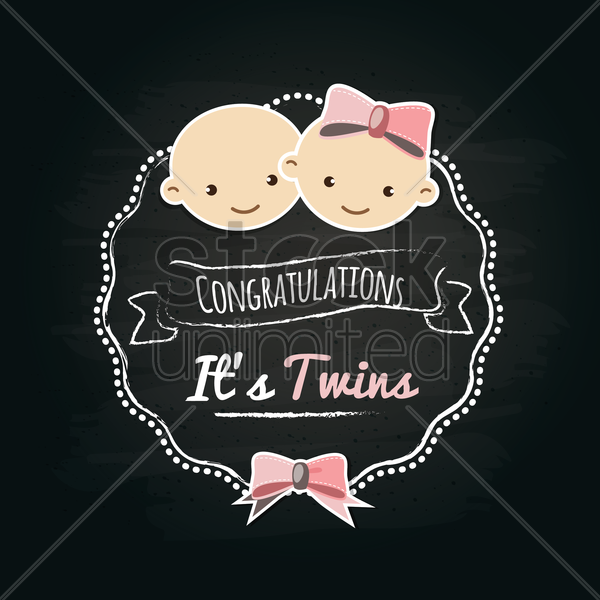 it's twins label vector graphic