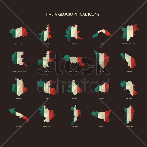 italia geographical icons vector graphic