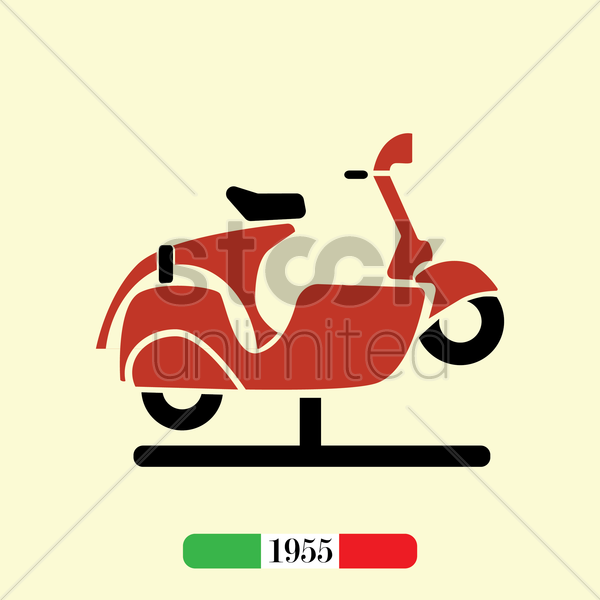 italian 1955 scooter vector graphic
