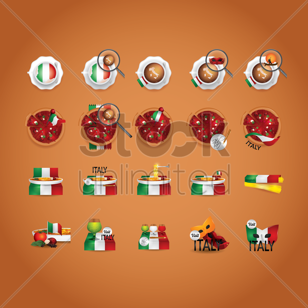 italian food and beverage icon set vector graphic