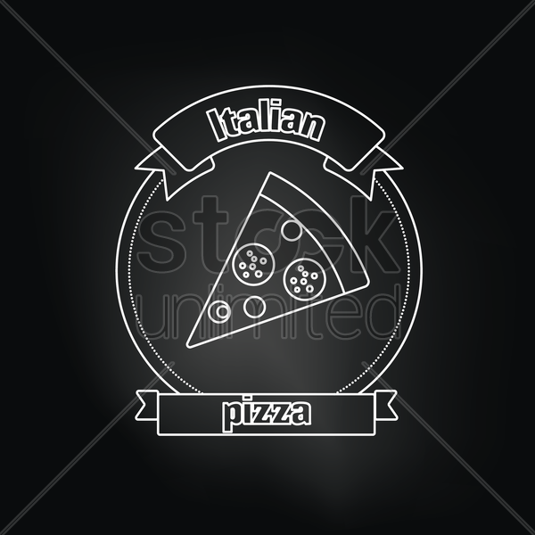 italian pizza over black background vector graphic