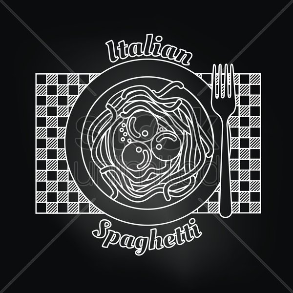 italian spaghetti over black background vector graphic