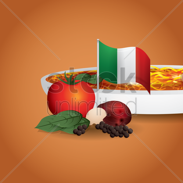 italian spaghetti with vegetables vector graphic