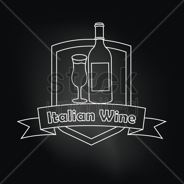 italian wine over black background vector graphic