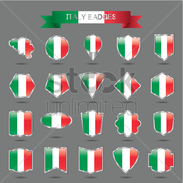 italy badges collection vector graphic