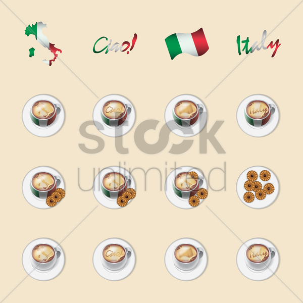 italy coffee icons vector graphic