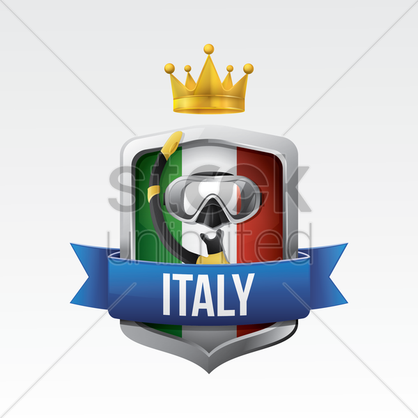 italy flag with diving mask vector graphic