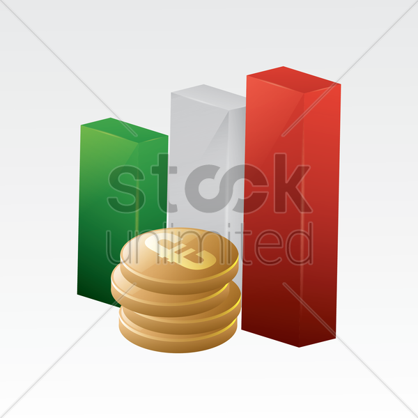 italy flag with euro coins vector graphic