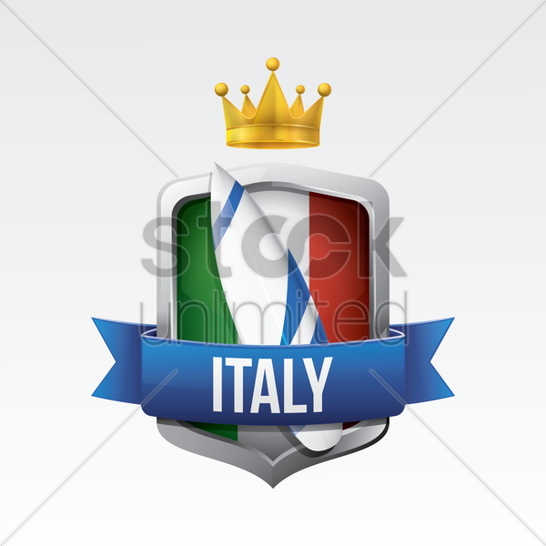 italy flag with surfboard vector graphic