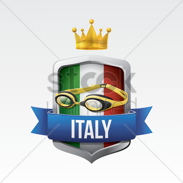 italy flag with swimming goggles vector graphic