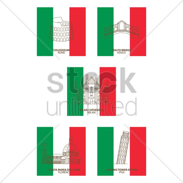 italy landmarks vector graphic