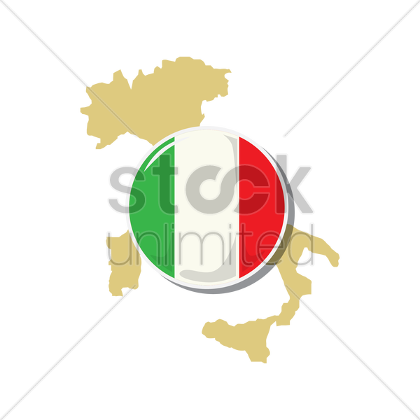 italy map with flag vector graphic