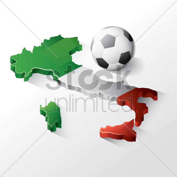 italy map with football vector graphic