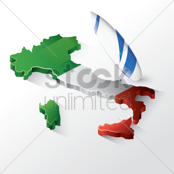 italy map with surfboard vector graphic