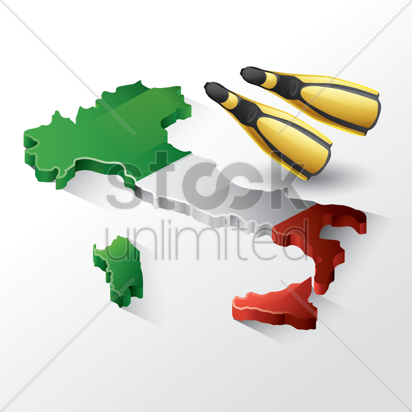 italy map with swim fins vector graphic