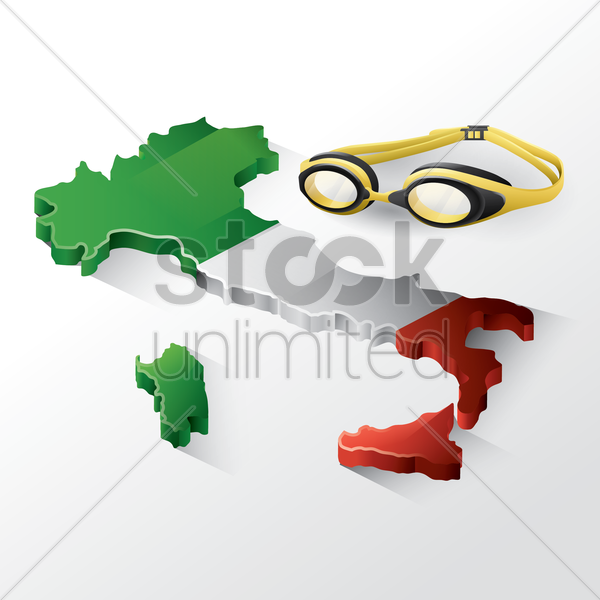 italy map with swimming goggles vector graphic