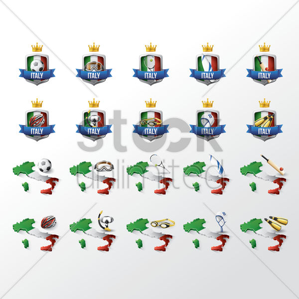 italy sports icon set vector graphic