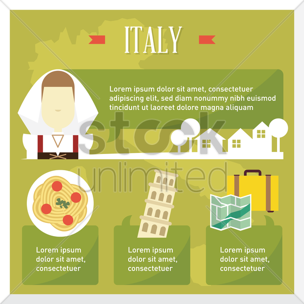 italy travel infographic vector graphic