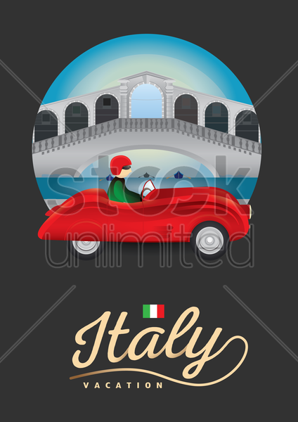 italy vacation poster vector graphic