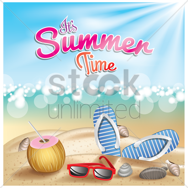 its summer time wallpaper vector graphic