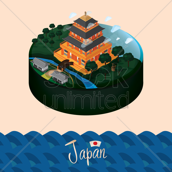 japan landscape vector graphic