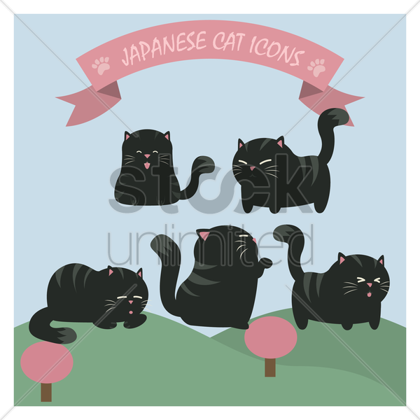 japanese cat icons vector graphic