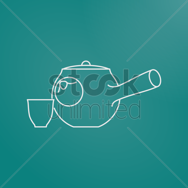 japanese teapot and cup vector graphic