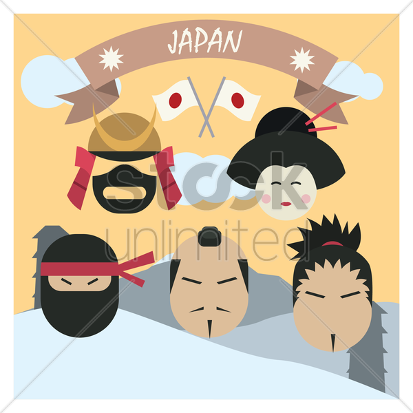 japanese traditional attire set vector graphic