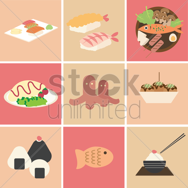 japanese traditional cuisine collection vector graphic