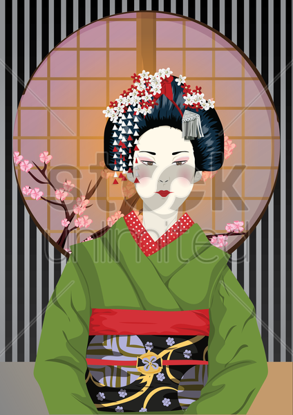 japanese traditional woman vector graphic