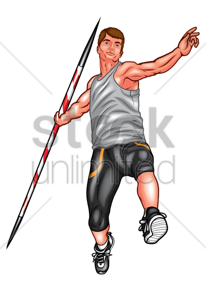 javelin thrower in action vector graphic