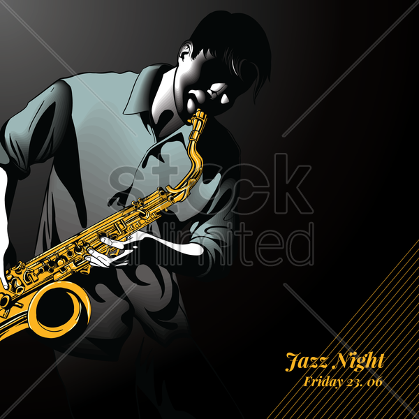 jazz musician playing saxophone vector graphic