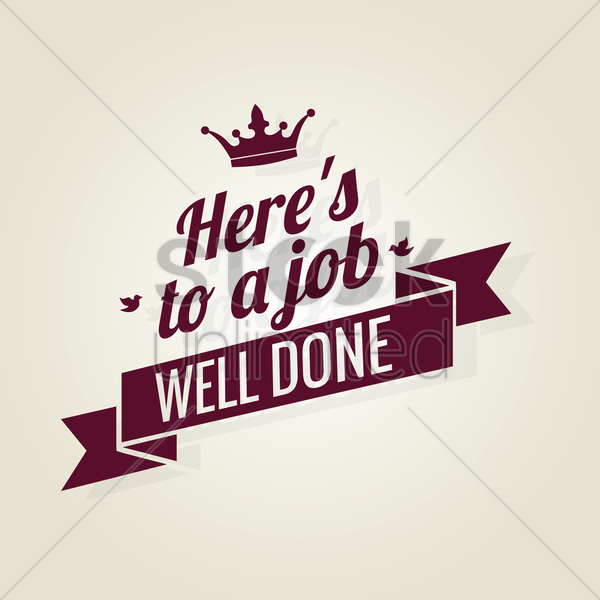 Free job well done ribbon vector graphic
