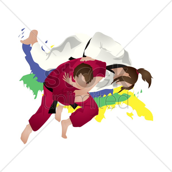 judo participants in action vector graphic